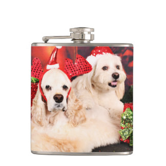 Christmas - Cocker - Toby, Havanese - Little T Hip Flask