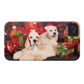 Christmas - Cocker - Toby, Havanese - Little T iPhone 4 Case-Mate Cases