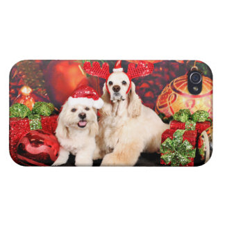 Christmas - Cocker - Toby, Havanese - Little T iPhone 4 Cases