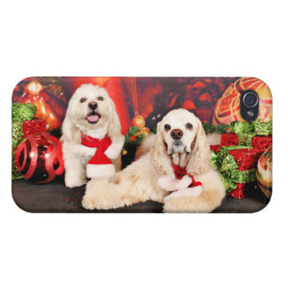 Christmas - Cocker - Toby, Havanese - Little T iPhone 4 Cover