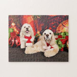 Christmas - Cocker - Toby, Havanese - Little T Jigsaw Puzzle