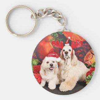 Christmas - Cocker - Toby, Havanese - Little T Key Ring