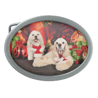 Christmas - Cocker - Toby, Havanese - Little T Oval Belt Buckles