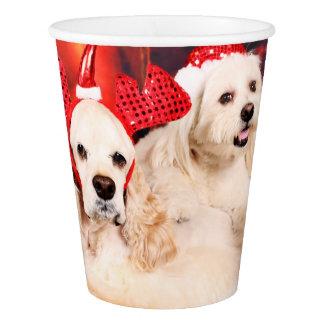 Christmas - Cocker - Toby, Havanese - Little T Paper Cup