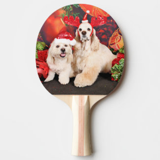 Christmas - Cocker - Toby, Havanese - Little T Ping Pong Paddle