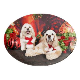 Christmas - Cocker - Toby, Havanese - Little T Porcelain Serving Platter