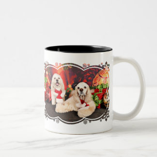 Christmas - Cocker - Toby, Havanese - Little T Two-Tone Coffee Mug