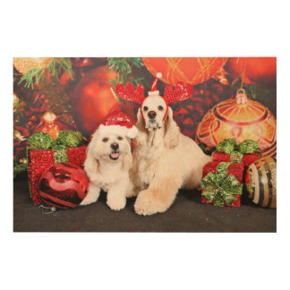 Christmas - Cocker - Toby, Havanese - Little T Wood Print