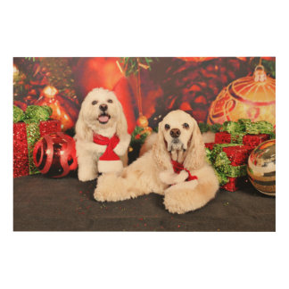 Christmas - Cocker - Toby, Havanese - Little T Wood Wall Art