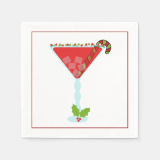 Christmas Cocktail Napkin with martini, olive and Paper Napkins