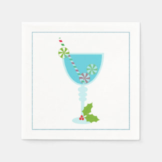 Christmas Cocktail Napkin with martini olive Disposable Serviette