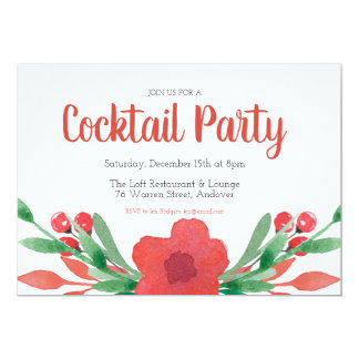 Christmas Cocktail Party Floral Invitation
