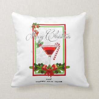 Christmas Cocktail Watercolor Art Cushion