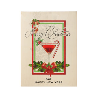 Christmas Cocktail Watercolor Art Wood Poster