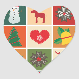 Christmas Collage Heart Sticker