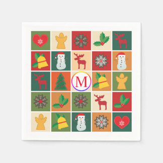 Christmas Collage with Monogram Disposable Napkin
