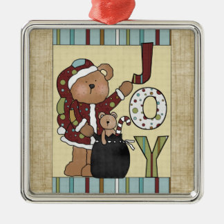 Christmas Collection Bear Joy Silver-Colored Square Decoration