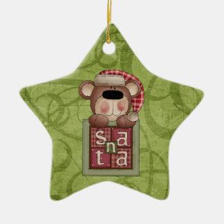 Christmas Collection Bear Santa Ceramic Star Decoration