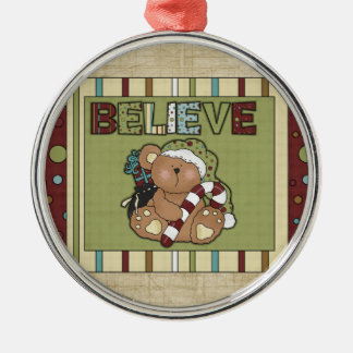 Christmas Collection Believe Bear Silver-Colored Round Decoration