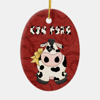 Christmas Collection Country CowPoke Cow Ceramic Oval Decoration