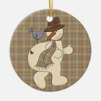 Christmas Collection Fun Snowman Round Ceramic Decoration