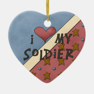 Christmas Collection I Love My Soldier Ceramic Heart Decoration