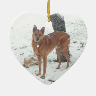 Christmas Collection Pet Photo Heart Ceramic Ornament