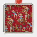 Christmas Collection Retro Cowgirls Christmas Tree Ornaments