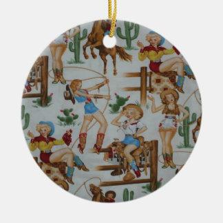 Christmas Collection Retro Cowgirls Round Ceramic Decoration