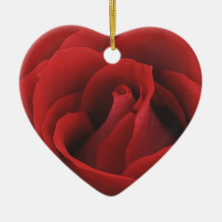 Christmas Collection Rose Christmas Red Ceramic Heart Decoration