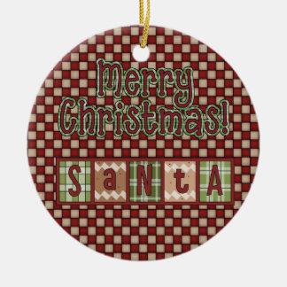 Christmas Collection Santa Blocks Round Ceramic Decoration