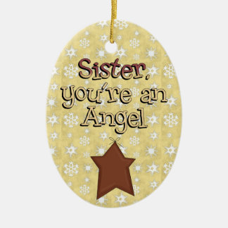 Christmas Collection Sister Angel Star Ceramic Oval Decoration