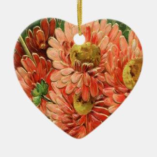 Christmas Collection Vintage Floral Ceramic Heart Decoration