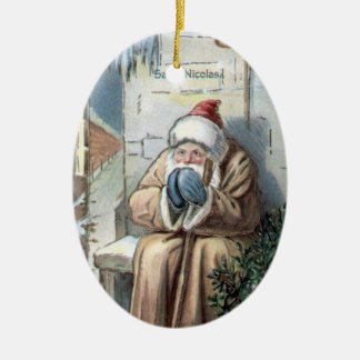 Christmas Collection Vintage Saint Nicolas Ceramic Oval Decoration