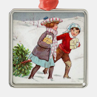 Christmas Collection Vintage Victorian Children Silver-Colored Square Decoration