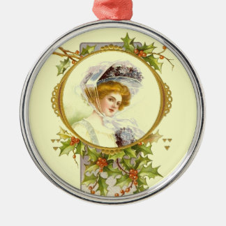Christmas Collection Vintage Victorian Lady Silver-Colored Round Decoration
