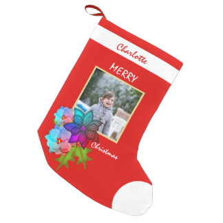 Christmas Colorful Floral Succulent Photo Small Christmas Stocking