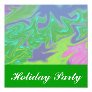 Christmas Colorful Green Blue 13 Cm X 13 Cm Square Invitation Card