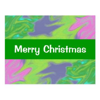 Christmas Colorful Green Blue Postcard