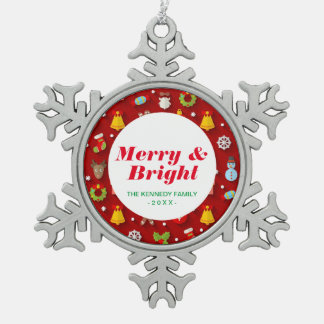 Christmas Colorful Objects Pewter Snowflake Decoration