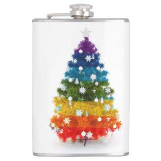 christmas, colorful, rainbow colors, advent, tree hip flask