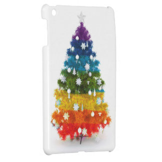 christmas, colorful, rainbow colors, tree iPad mini case
