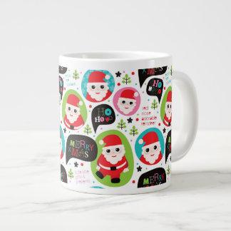 Christmas colorful Santa background Jumbo Mug