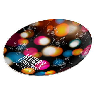 Christmas Colorful Sparkles Porcelain Plate