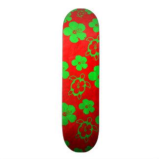 Christmas Colors Hawaiian Honu Custom Skate Board