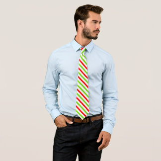 Christmas Colors Red Green Stripes Tie
