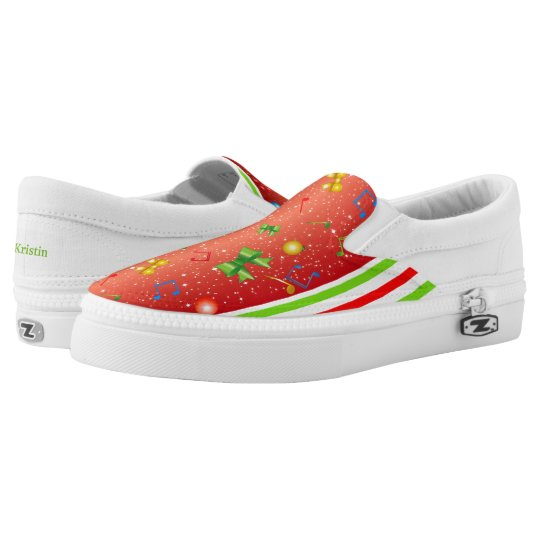 Christmas Colours Ribbons Bulbs Music Notes Slip-On Shoes