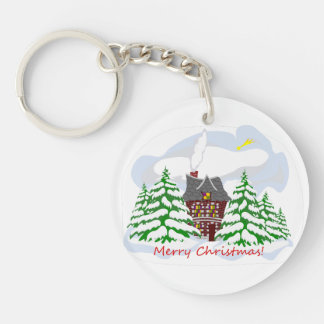 Christmas coming to family house key ring
