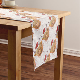 christmas coo Highland Cow with Christmas Hat Short Table Runner