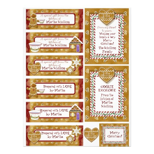 Christmas Cookie Exchange Gift Tags Personalized Personalized Flyer